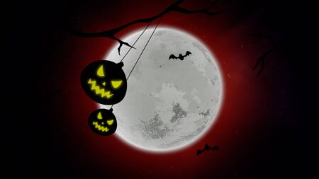 Halloween background with the bats and pumpkins on trees. Happy holiday abstract backdrop. Luxury and elegant style 3D illustration for holiday template Stockfoto - 129421707