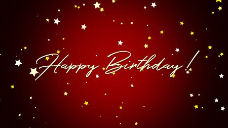Closeup Happy Birthday text on red background. Luxury and elegant style 3D illustration for holiday