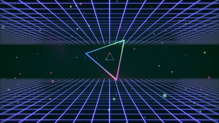 Retro colorful triangle and lines in space, abstract background. Elegant and luxury 80s, 90s style 3D illustration 写真素材 - 129421635
