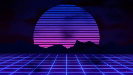 Retro abstract background, grid and mountain. Elegant and luxury 80s, 90s style 3D illustration