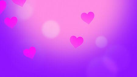 Romantic hearts on shiny background. Happy valentines day holidays greeting. Luxury and elegant style 3D illustration Stock Illustration - 129421534