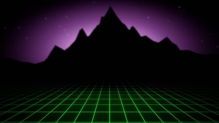 Retro abstract background, red grid and mountain. Elegant and luxury 80s, 90s style 3D illustration