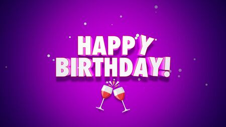 Closeup Happy Birthday text on purple background. Luxury and elegant style 3D illustration for holiday Stockfoto
