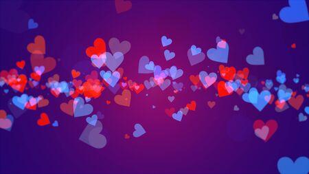 Romantic hearts on shiny background. Happy valentines day holidays greeting. Luxury and elegant style 3D illustration Banco de Imagens - 129421500