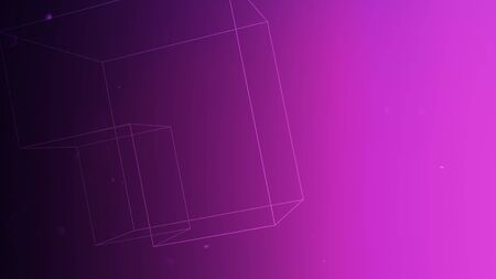 Geometric shape with particles in space, abstract background. Elegant and luxury dynamic geometric style for business, 3D illustration Imagens