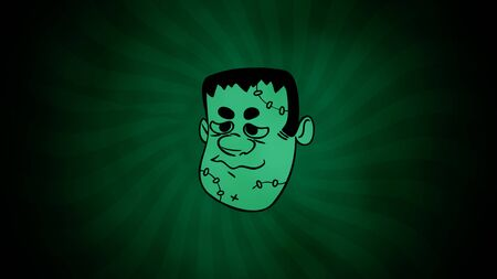 Halloween animation with the Frankenstein face on green background. Happy holiday abstract backdrop. Happy holiday abstract backdrop. Luxury and elegant style 3D illustration for holiday template Imagens