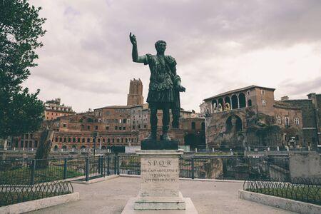 Sculpture of the Roman Emperor Augustus Caesar (Caesari Nervae) on the road of Imperial forums