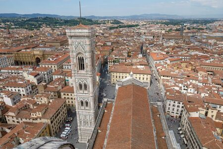 Aerial panoramic view of Florence city and Giotto's Campanile is campanile that is part of complex of Florence Cathedral (Cattedrale di Santa Maria del Fiore)