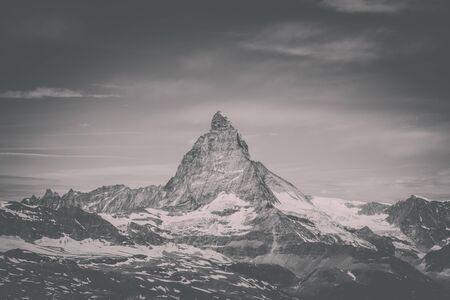 View closeup Matterhorn mountain, scene in national park Zermatt, Switzerland, Europe. Summer landscape, sunshine weather, dramatic blue sky and sunny day Imagens