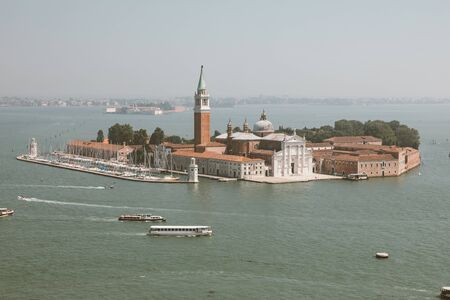 Panoramic view of San Giorgio Maggiore Island from St. Marks Campanile. Landscape of summer day and sunny blue sky Stockfoto