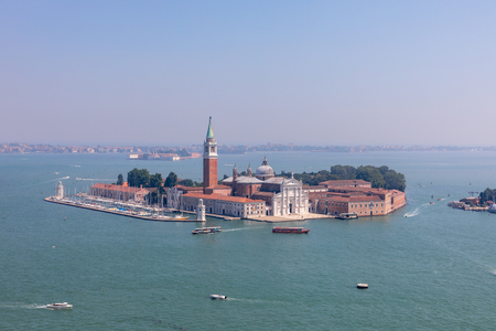 Panoramic view of San Giorgio Maggiore Island from St. Marks Campanile. Landscape of summer day and sunny blue sky Redactioneel
