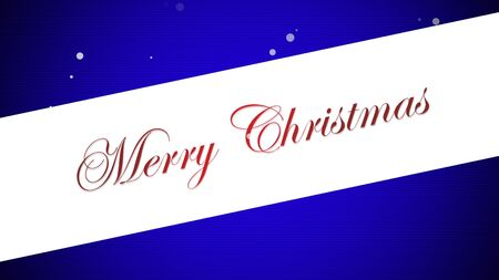 Merry Christmas text on blue background. Luxury and elegant dynamic style 3D illustration for winter holiday