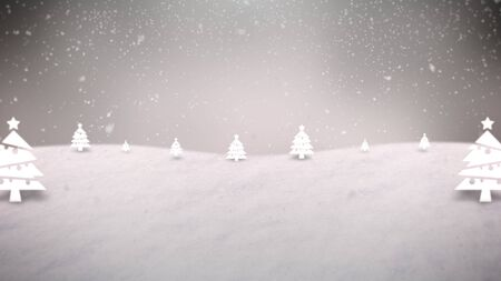 Closeup mountains, forest and snowing landscape. Luxury and elegant dynamic style 3D illustration for winter holiday