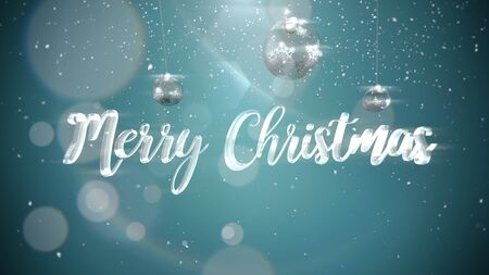 Merry Christmas text, silver balls on shine background. Luxury and elegant dynamic style 3D illustration for winter holiday