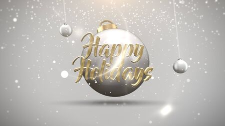 Happy New Year text, motion balls and snowflakes on white background. Luxury and elegant dynamic style 3D illustration for winter holiday