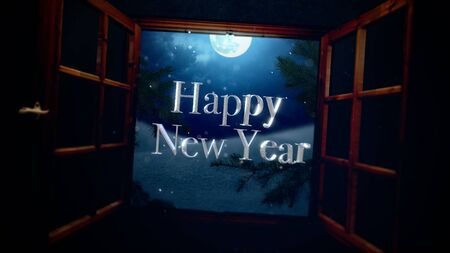 Happy New Year text with open window, away mountains and moon landscape. Luxury and elegant dynamic style 3D illustration for winter holiday
