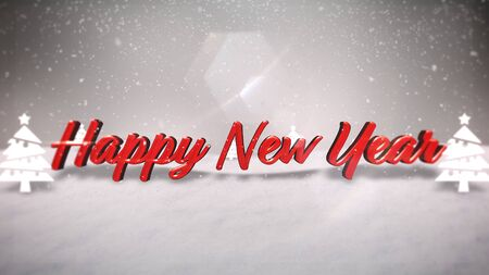 Happy New Year text, mountains, forest and snowing landscape. Luxury and elegant dynamic style 3D illustration for winter holiday Stock Photo