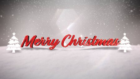 Closeup Merry Christmas text, mountains, forest and snowing landscape. Luxury and elegant dynamic style 3D illustration for winter holiday