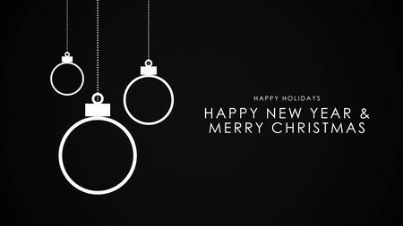 Happy New Year and Merry Christmas text, white balls on black background. Luxury and elegant dynamic style 3D illustration for winter holiday