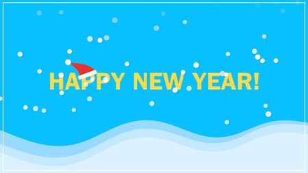 Happy New Year text on snow background. Luxury and elegant dynamic style 3D illustration for winter holiday Stock Photo