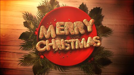 Merry Christmas text, candy and Christmas pie on wood background. Luxury and elegant dynamic style 3D illustration for winter holiday