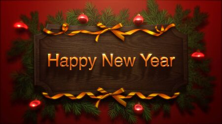 Happy New Year text, red balls and green branch on wood background. Luxury and elegant dynamic style 3D illustration for winter holiday