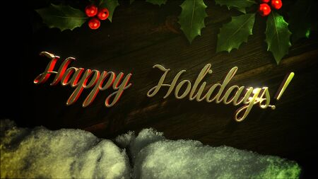 Happy Holidays text, white snow and green Christmas branch on wood background. Luxury and elegant dynamic style 3D illustration for winter holiday