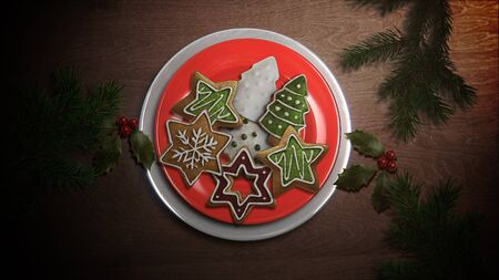 Closeup candy and Christmas pie on wood background. Luxury and elegant dynamic style 3D illustration for winter holiday Stock Photo
