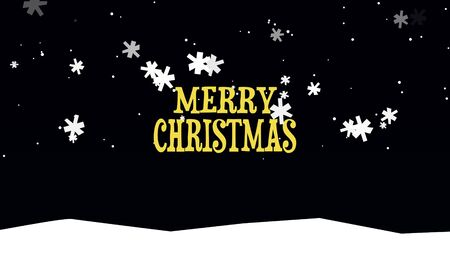 Merry Christmas text on snow background. Luxury and elegant dynamic style 3D illustration for winter holiday Stock Photo
