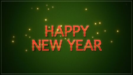 Happy New Year text on green background. Luxury and elegant dynamic style 3D illustration for winter holiday