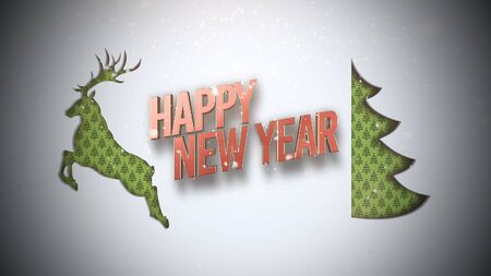 Closeup Happy New Year text, green Christmas tree and deer on snow background. Luxury and elegant dynamic style 3D illustration for winter holiday