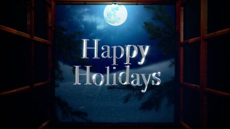 Happy Holidays text with open window, away mountains and moon landscape. Luxury and elegant dynamic style 3D illustration for winter holiday Stock Photo