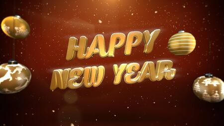 Happy New Year text, white snowflakes and gold balls on retro background. Luxury and elegant dynamic style 3D illustration for winter holiday Stock Photo