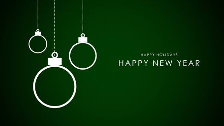 Happy New Year text, white balls on green background. Luxury and elegant dynamic style 3D illustration for winter holiday