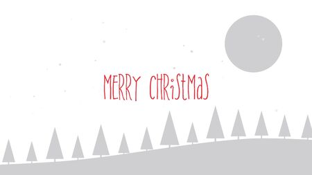 Merry Christmas text, mountains, forest and snowing landscape. Luxury and elegant dynamic style 3D illustration for winter holiday