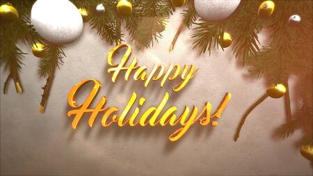 Happy Holidays text, white and yellow ball, green Christmas branches on snow background. Luxury and elegant dynamic style 3D illustration for winter holiday