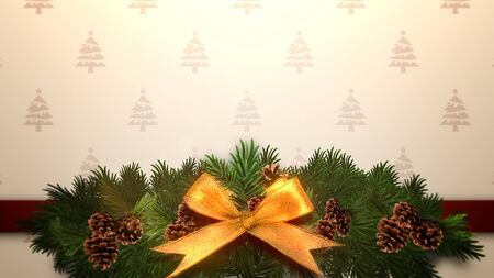 Closeup Christmas green tree branches on gift box. Luxury and elegant dynamic style 3D illustration for winter holiday Stock Photo