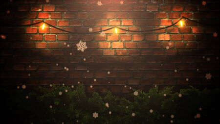 Closeup abstract bokeh and Christmas green tree branches on bricks background. Luxury and elegant dynamic style 3D illustration for winter holiday