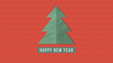 Happy New Year text, white Christmas tree on red background. Luxury and elegant dynamic style 3D illustration for winter holiday