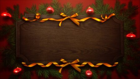 Red balls and Christmas green tree branches on wood background. Luxury and elegant dynamic style 3D illustration for winter holiday