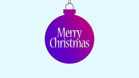 Merry Christmas text, purple ball with into text. Luxury and elegant dynamic style 3D illustration for winter holiday Stock Photo