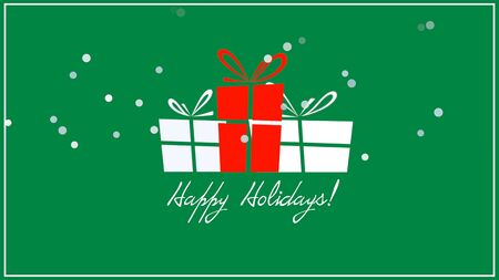 Happy Holidays text, three gift boxes on green background. Luxury and elegant dynamic style 3D illustration for winter holiday Stock Photo