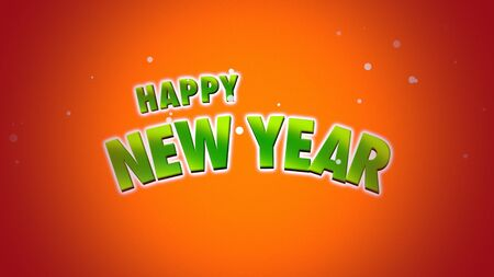 Happy New Year text on orange background. Luxury and elegant dynamic style 3D illustration for winter holiday Stock Photo