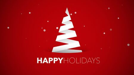 Happy Holidays text, white Christmas tree on red background. Luxury and elegant dynamic style 3D illustration for winter holiday