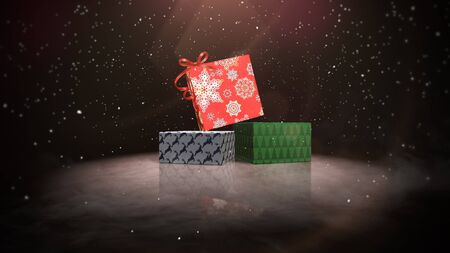 Closeup Christmas gift boxes on snow and shine background. Luxury and elegant dynamic style 3D illustration for winter holiday Stock Photo