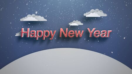 Closeup Happy New Year text, mountains and snowing landscape. Luxury and elegant dynamic style 3D illustration for winter holiday Stock Photo