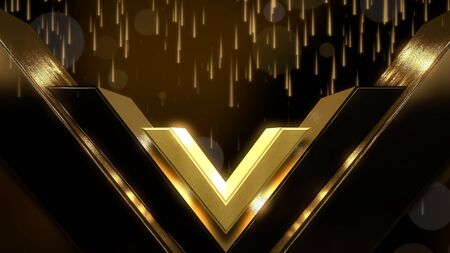 Gold lights and shape, abstract background. Elegant and luxury dynamic style for awards 3D illustration