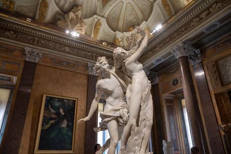 Rome, Italy - June 22, 2018: Baroque marble sculpture Apollo and Daphne by Bernini 1622 in Galleria Borghese of Villa Borghese