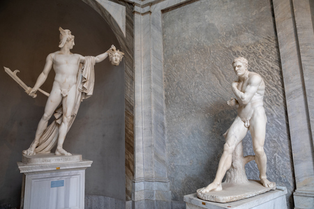 Rome, Italy - June 22, 2018: Baroque marble sculptures in Vatican museum