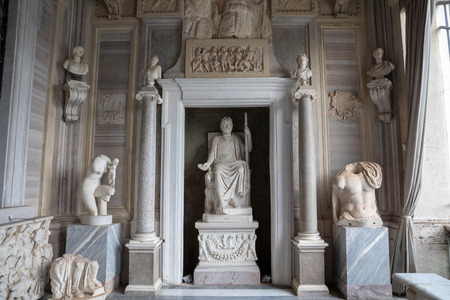 Rome, Italy - June 22, 2018: Baroque marble sculptural group by Italian artist in Galleria Borghese of Villa Borghese